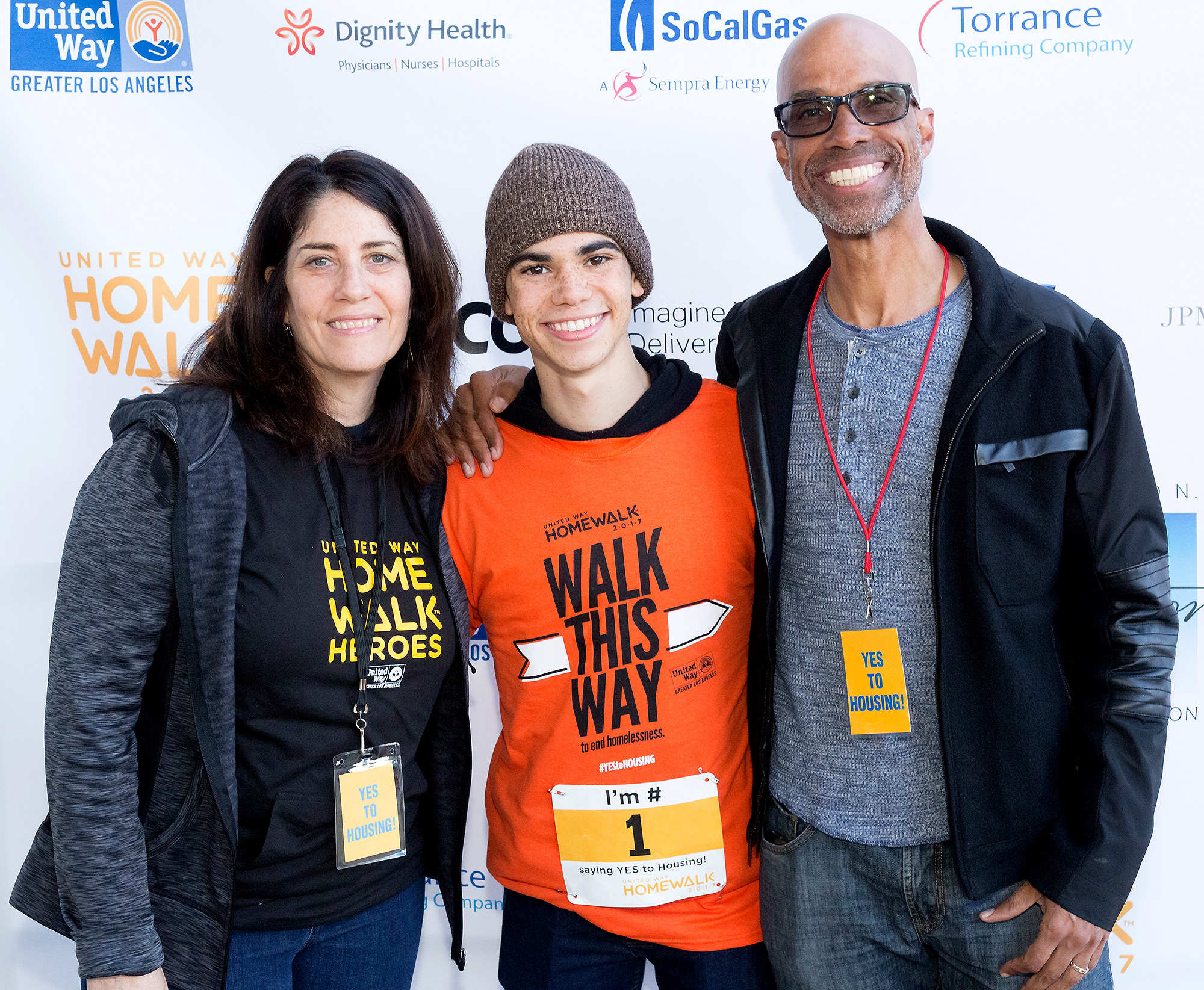 Cameron Boyce and Parents Libby Boyce and Victor Boyce at Annual Homewalk to End Homelessness in LA