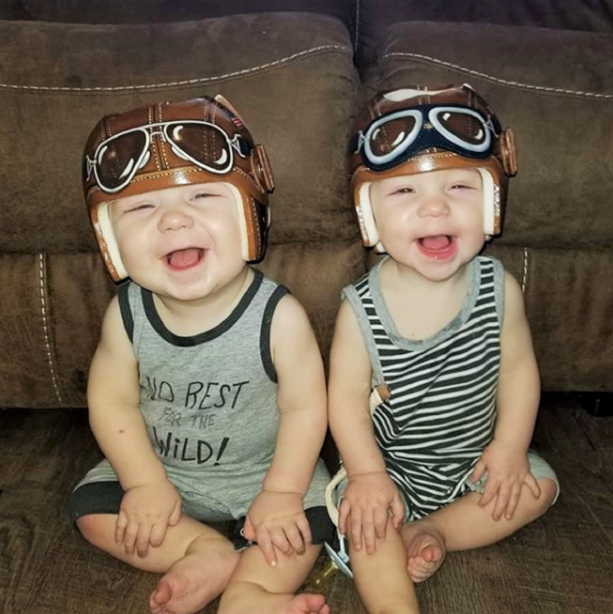 Paula Strawn Two Babies Wearing Corrective Helmets with Flat Head Syndrome