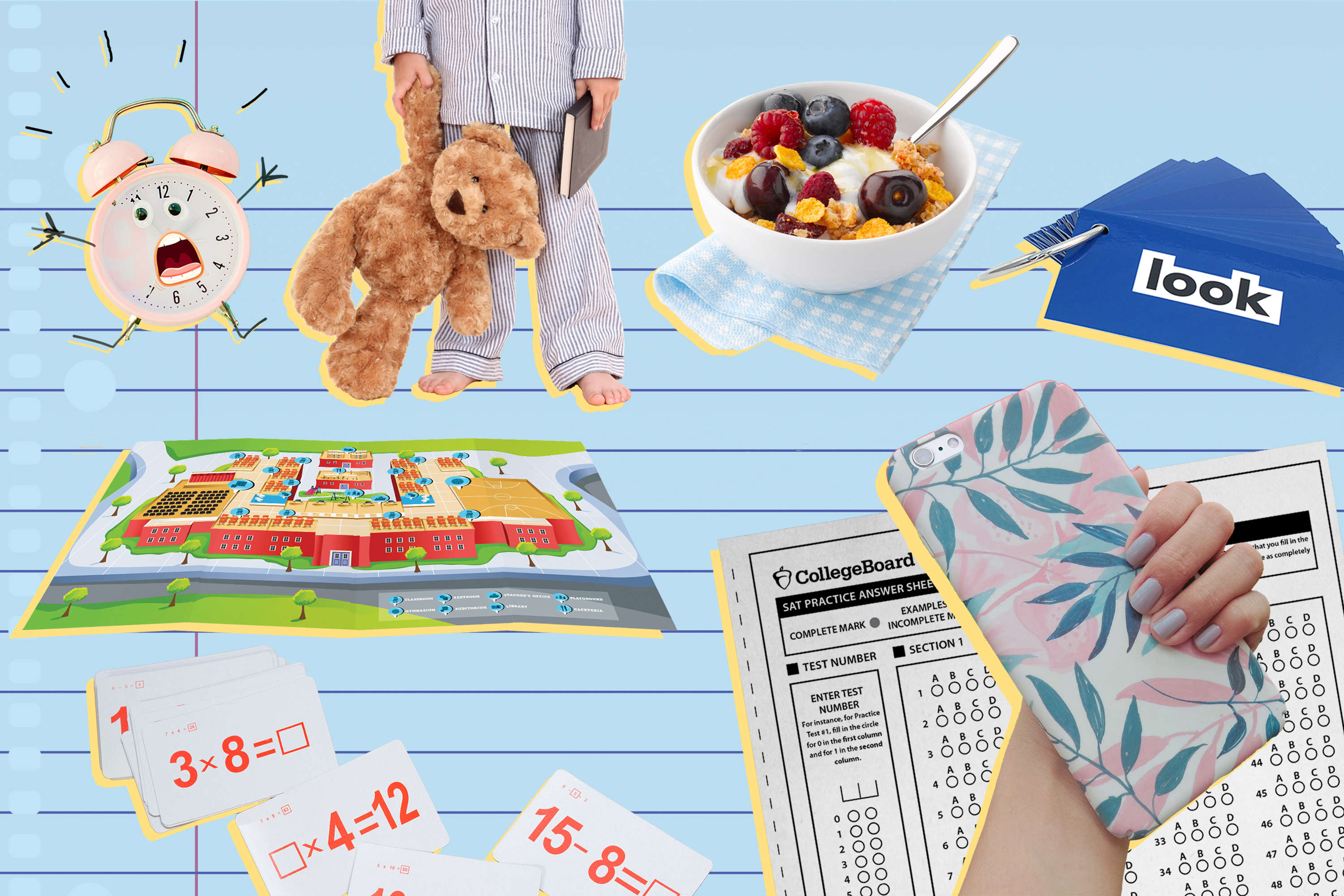 photo illustration with alarm clock, bedtime story, cereal, sight words, cell phone, map of school, flashcards and sat practice test
