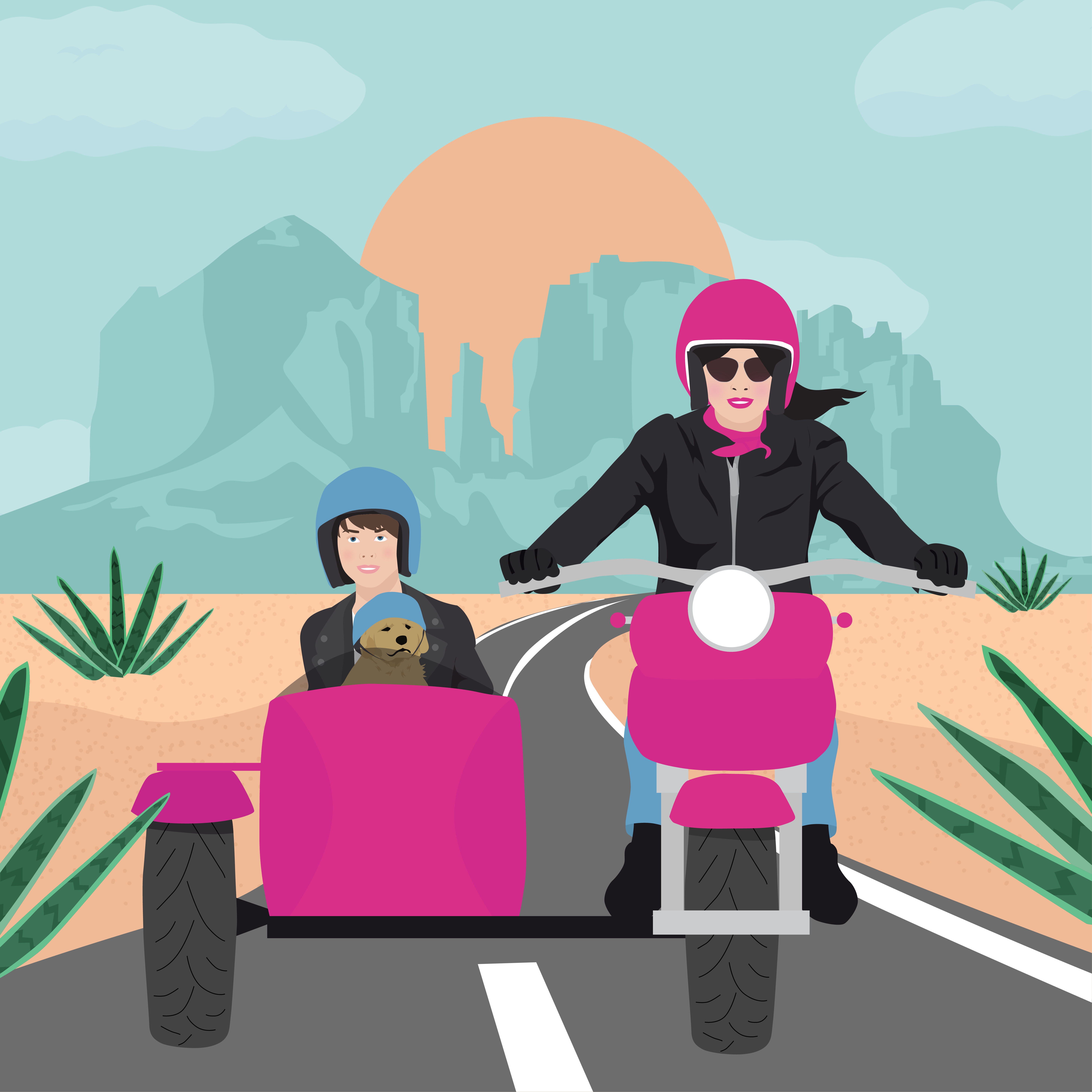 mom and son in motorcycle with sidecar