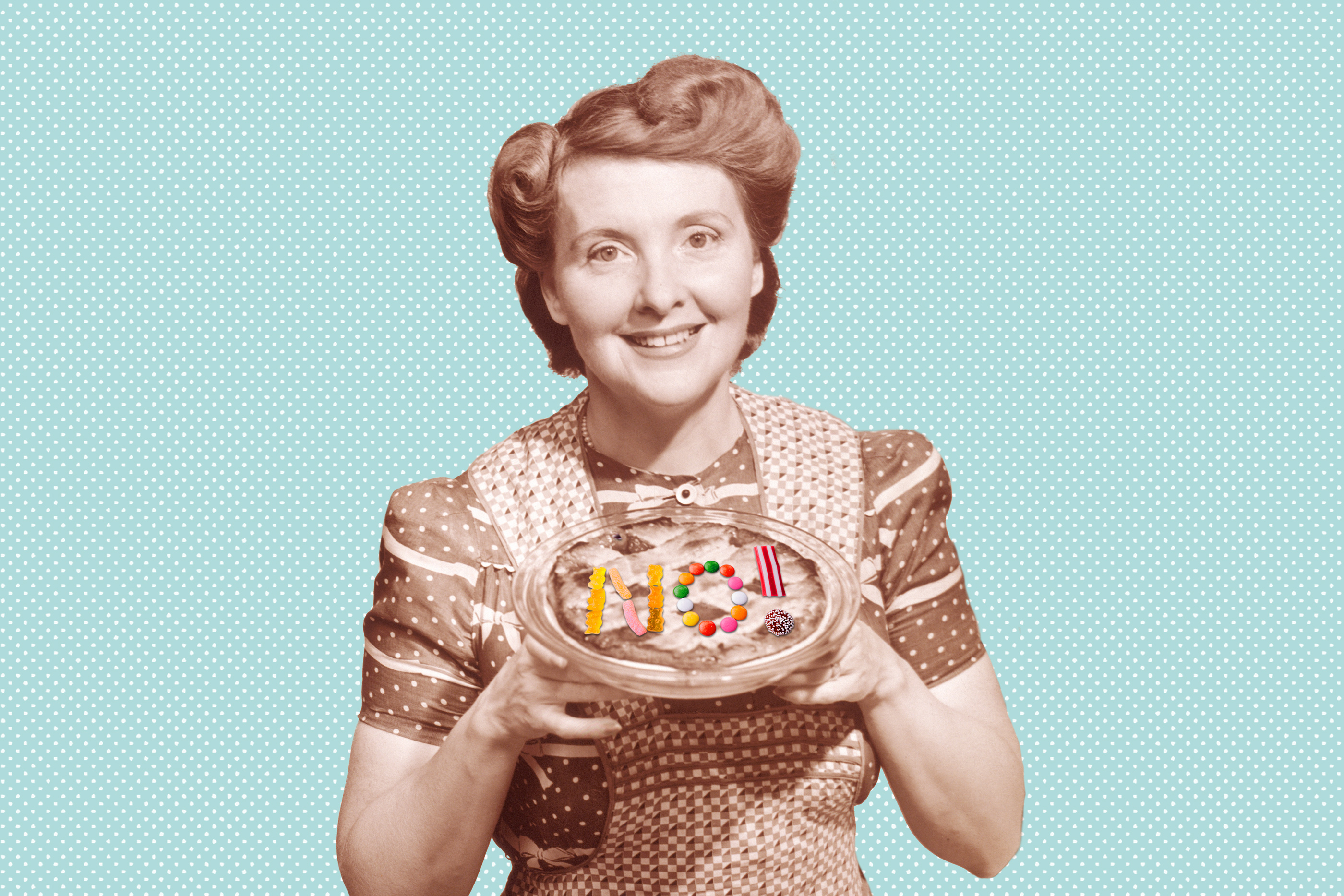 """1950s housewife holding pie with """"NO"""" on it"""