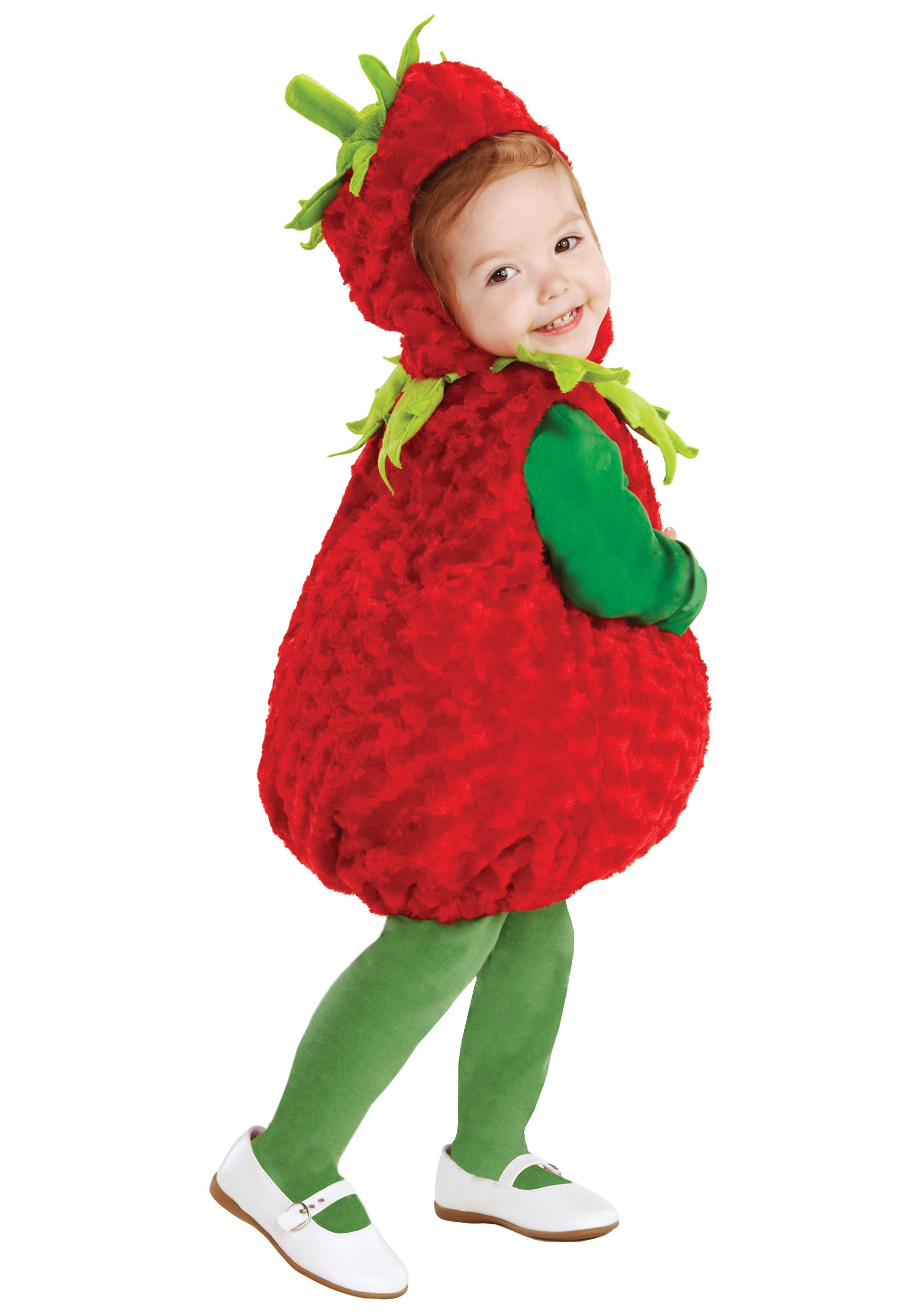 With this plush red costume, your daughter will be the cutest strawberry in the field.