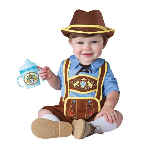 Channel your German roots with this Oktoberfest-themed funny baby Halloween costume. Instead of a beer stein, your Lederhosen-clad baby can accessorize with a milk-filled bottle or sippy cup.