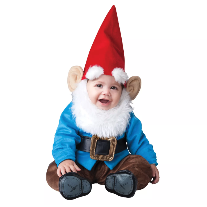 Perhaps your baby will bring good luck while dressed in this funny Halloween costume. It includes a blue shirt with a soft belt, a red hat, and a white fake beard.