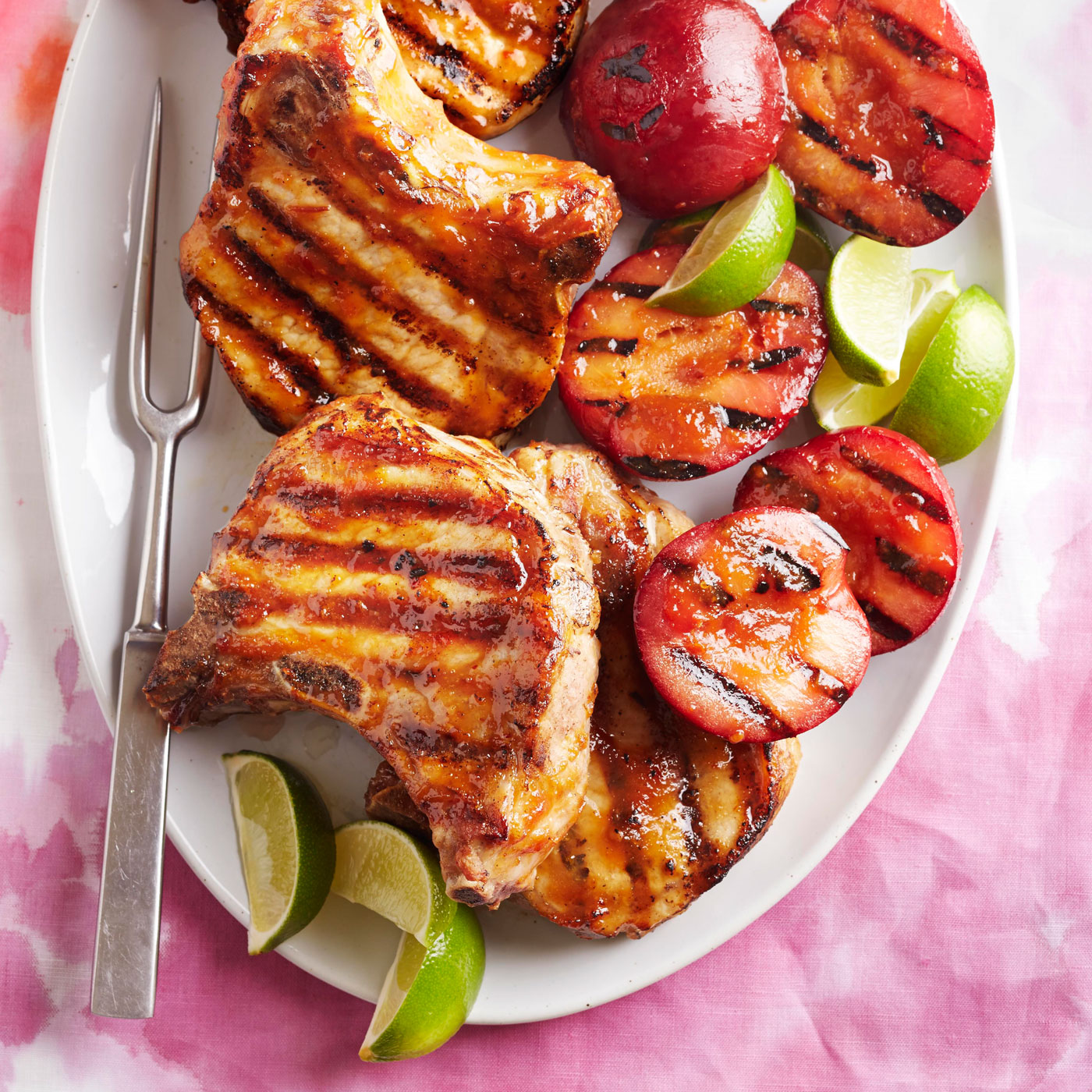 Pork Chops with Curried Plum Glaze and Grilled Plums