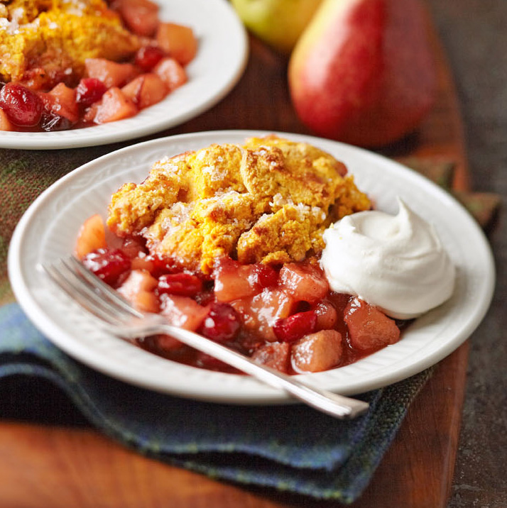 Spiced Pear-Cranberry Cobbler