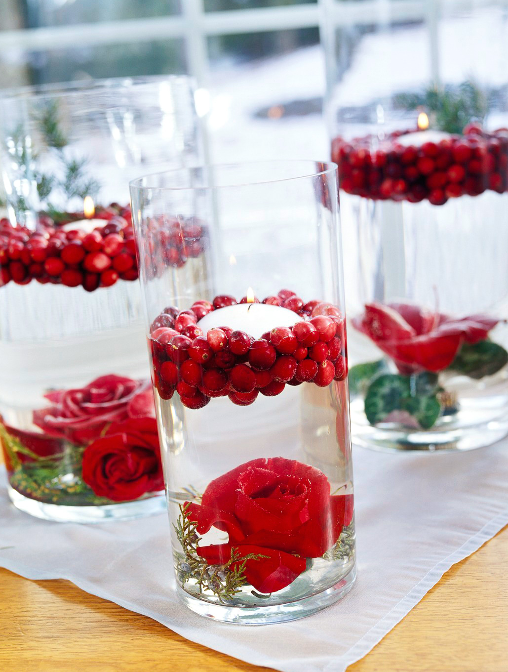 Cranberry flower cylinders