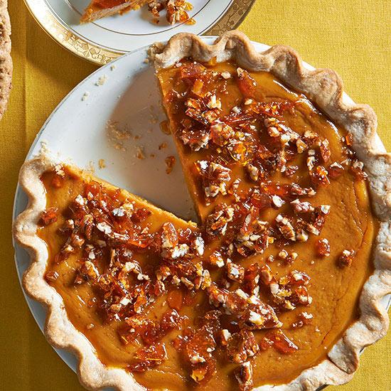 Maple Pumpkin Pie with Salted Pecan Brittle