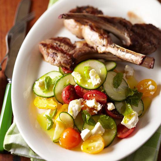 Grilled Lamb Chops with Feta Salad