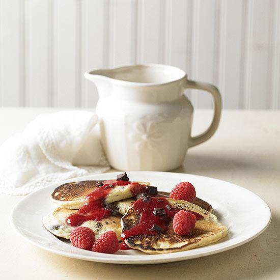 Chocolate Chip Pancakes with Raspberry Sauce