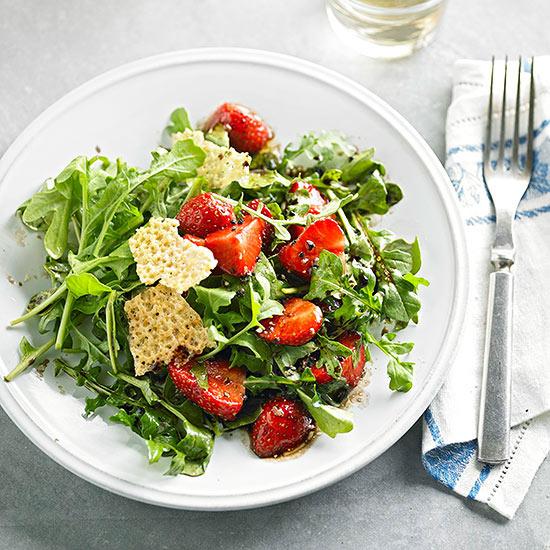 Strawberry and Arugula Salad with Manchego Fricos