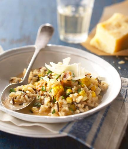 Fresh Corn Risotto with Wild Rice and Pancetta