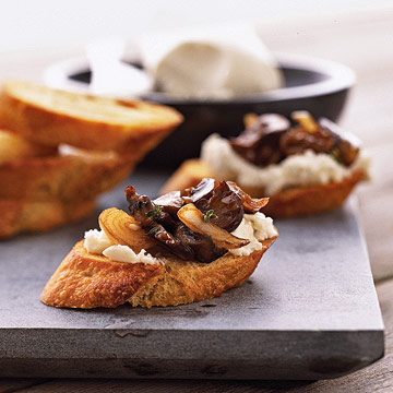 Goat Cheese and Fresh Mushroom Crostini