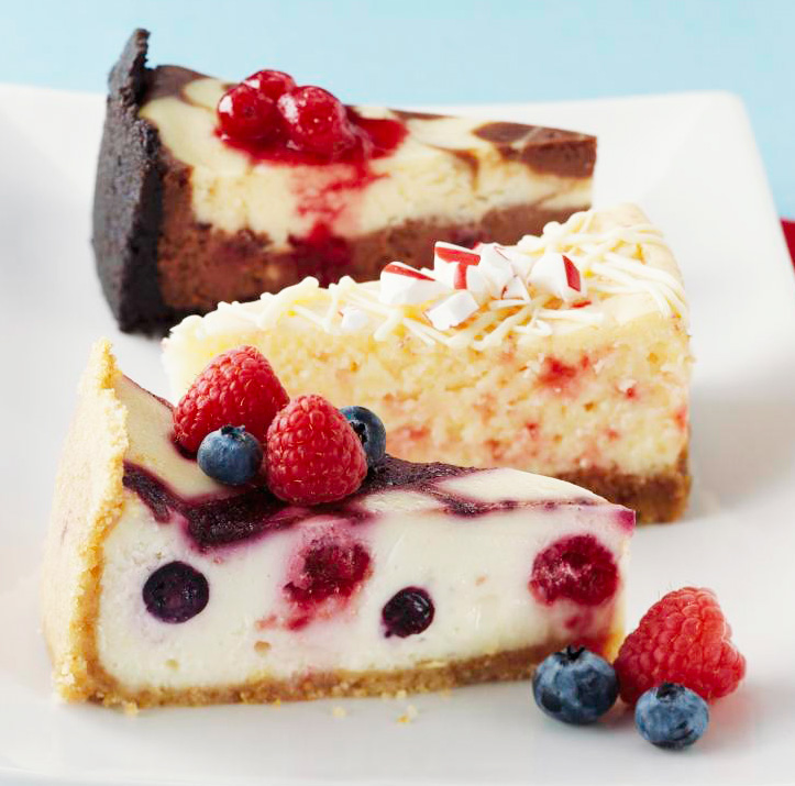 Three holiday cheesecakes