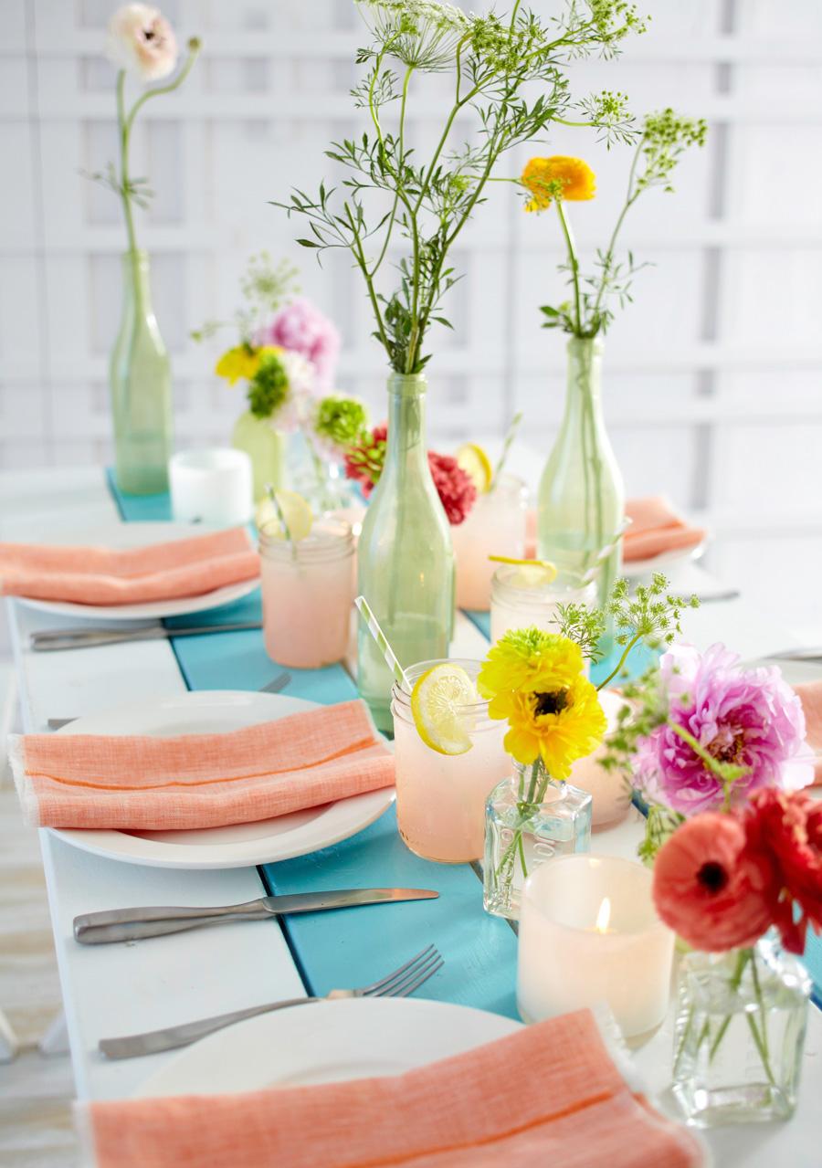 Split bouquet spring centerpiece