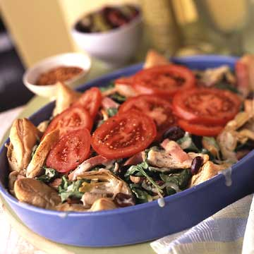 Menu #4: Salad pizza meal