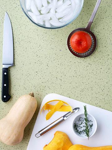 Peel tomatoes and squash