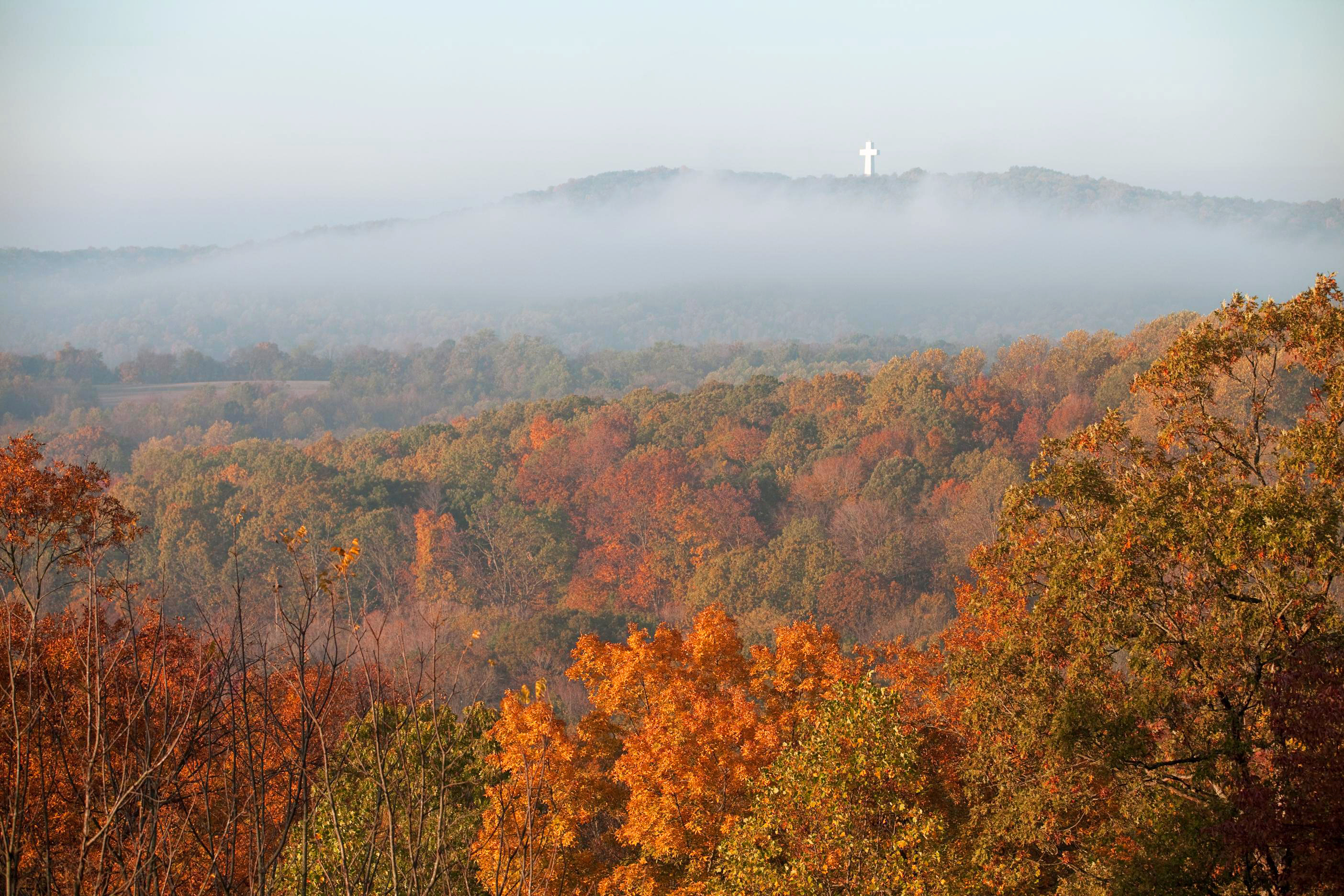 The 111-foot-tall Bald Knob Cross of Peace stands across the valley from a lookout point in Alto Pass.
