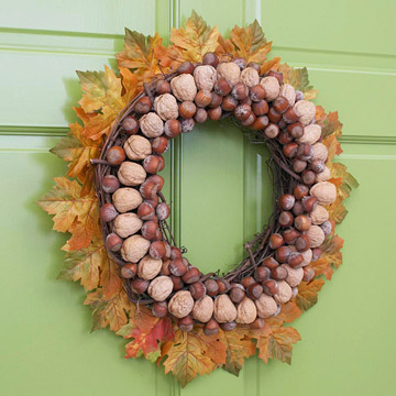 Nuts and leaf wreath