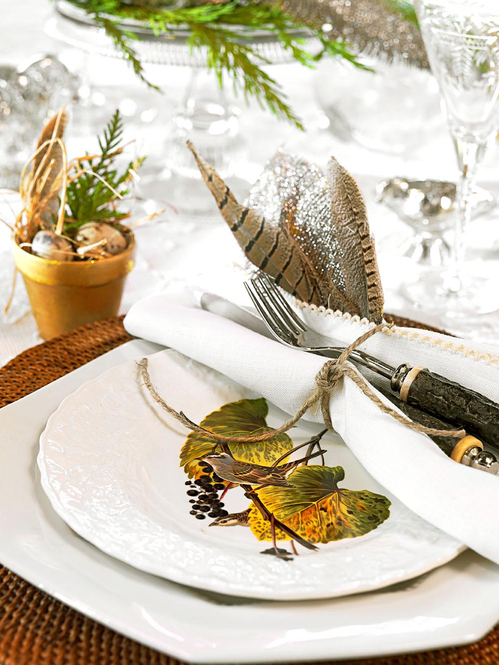 Bird-theme table setting