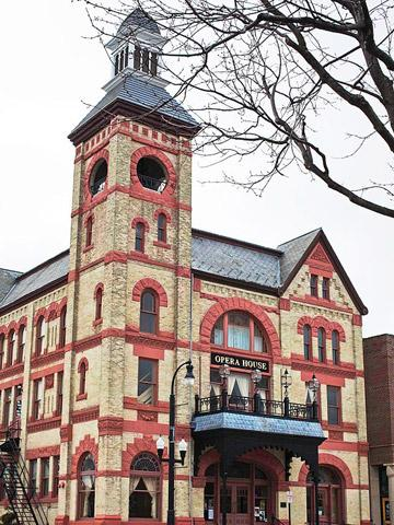 The 1890 Woodstock Opera House, which anchors the town's 19th-century square.