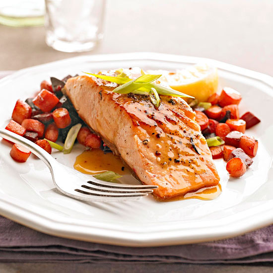 Peppered Salmon with Roasted Root Vegetables