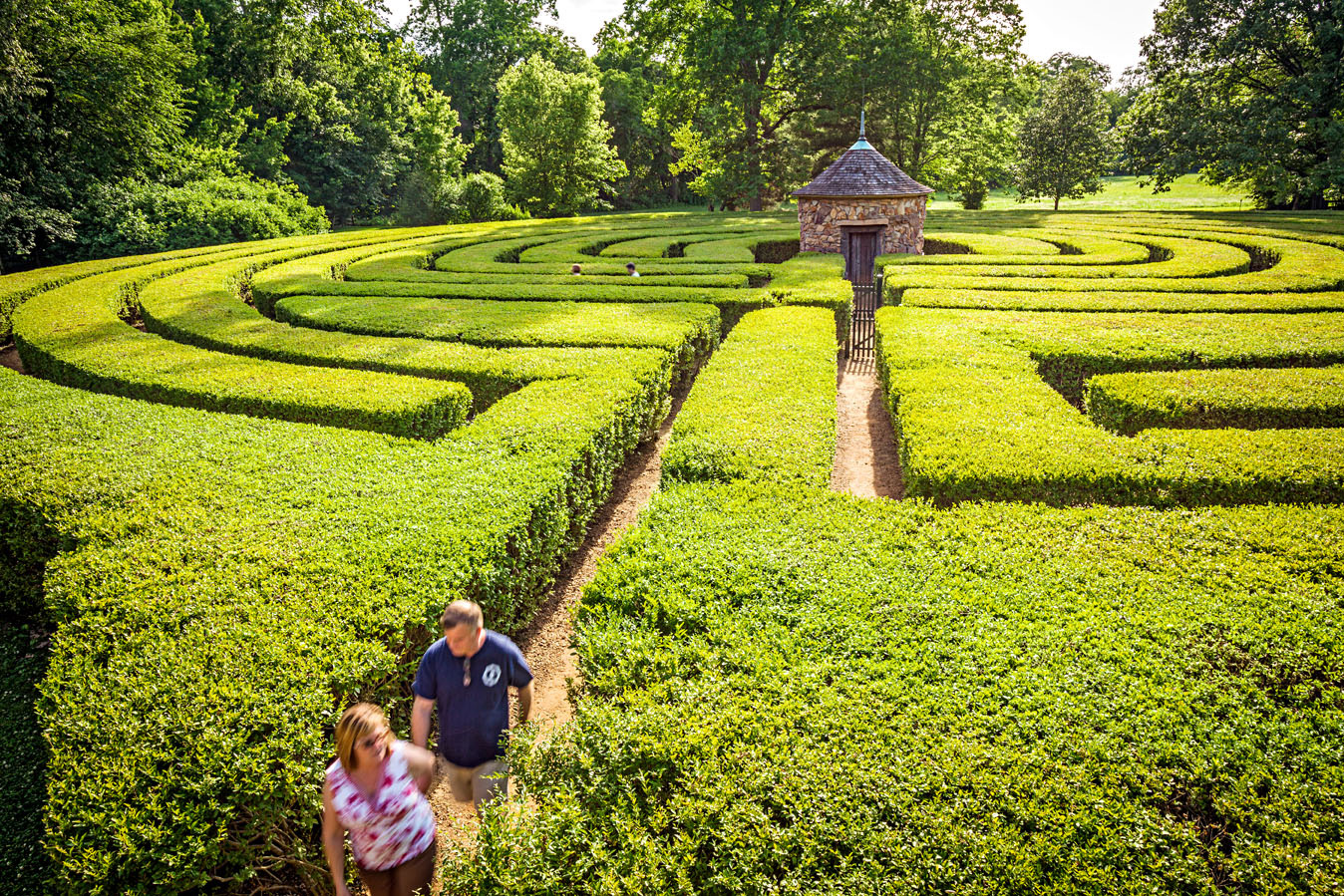 Symbolizing life's journey, only a single path leads to the center of the free-admission Harmonist Labyrinth.