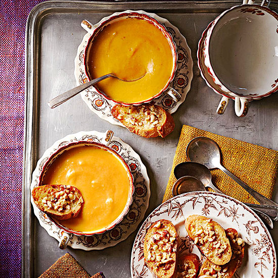 Pumpkin Parsnip Bisque with Hazelnut Toasts