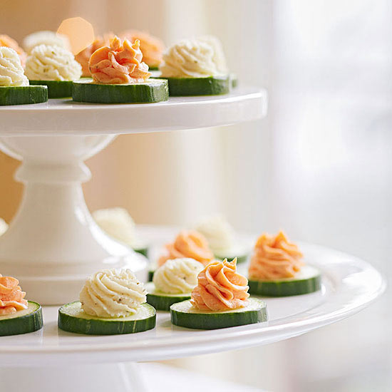Cucumber Bites with Herbed Cheese and Salmon Mousse