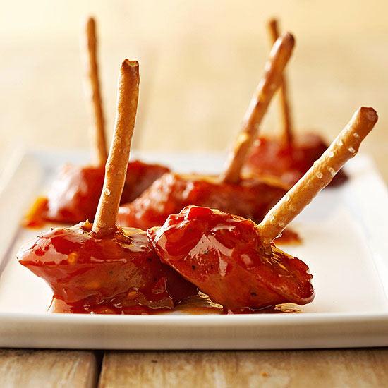 Sweet-and-Sour-Glazed Chicken Sausage Bites