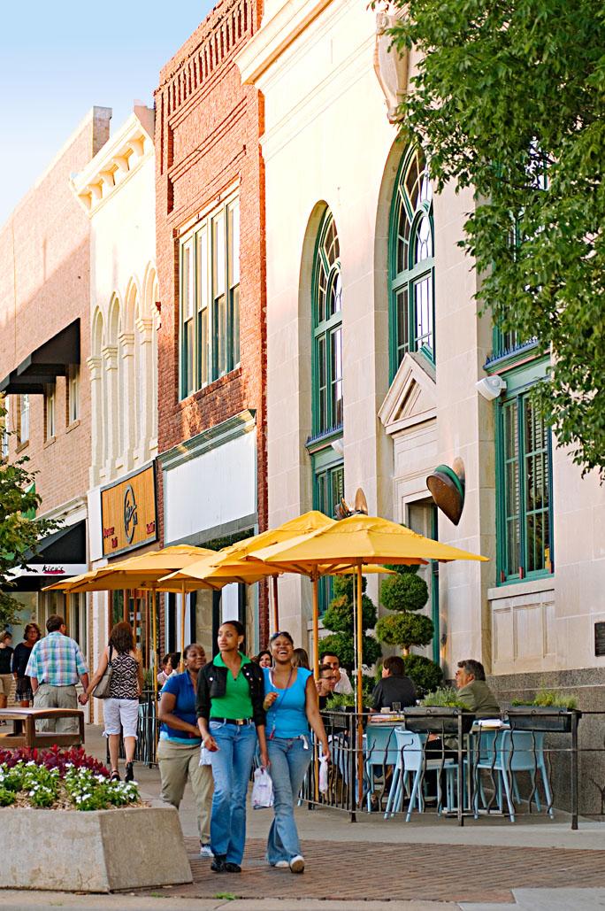 Massachusetts Street in downtown Lawrence, Kansas.