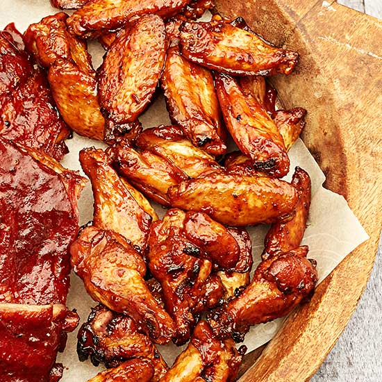 Smoked Wings with Kicky Asian Barbecue Sauce