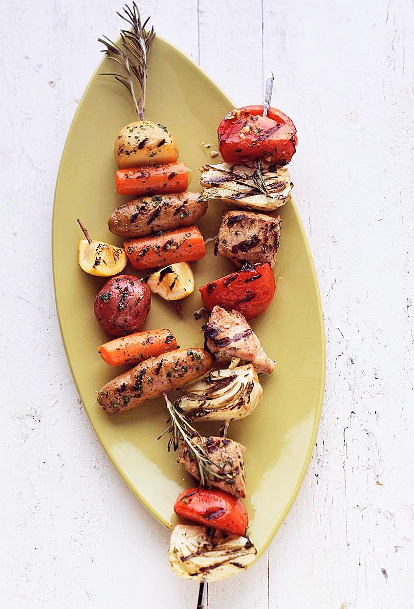 Pesto Rosemary Skewered Baby Potatoes and Carrots
