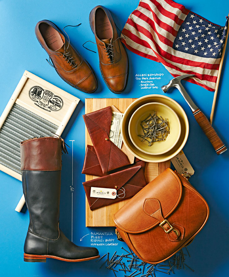 (Clockwise, from top) Allen Edmonds shoes, Estwing hammer, Clay City Pottery bowl, J.W. Hulme wallets and  bag, Wolverine boot, Columbus Washboard.