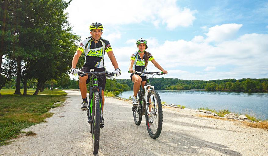 A bike trail hugs Truman Reservoir