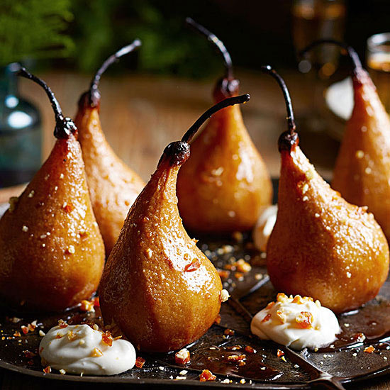 Roasted Pears with Lemon Cream and Candied Pine Nuts
