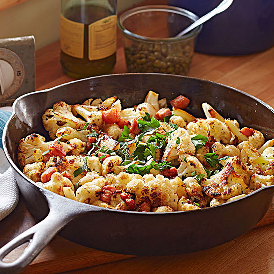 Pan-Roasted Cauliflower with Salt Pork and Capers