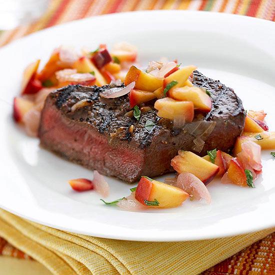 Garlic Steaks with Nectarine Relish