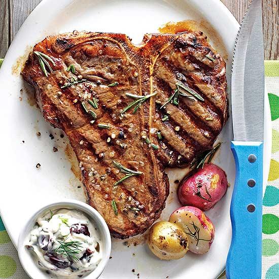 Rosemary Porterhouse Steaks with Olive Mayo