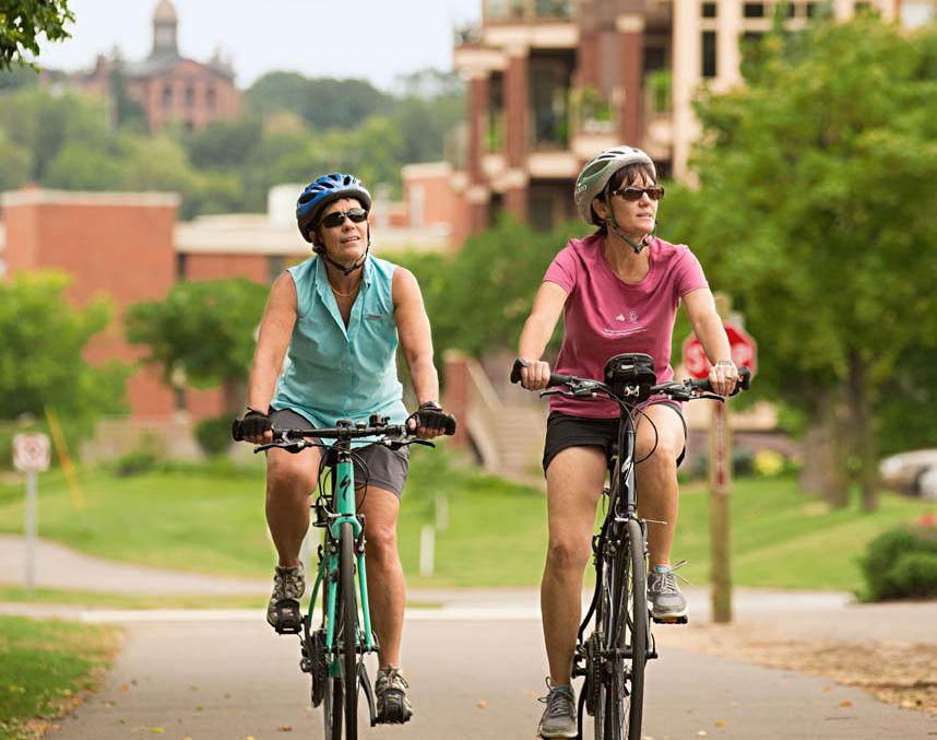 Biking downtown Stillwater