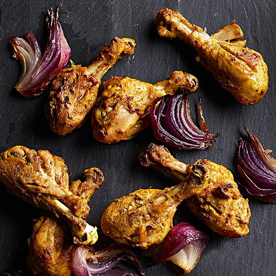 Tandoori Chicken Drumsticks and Roasty Red Onions