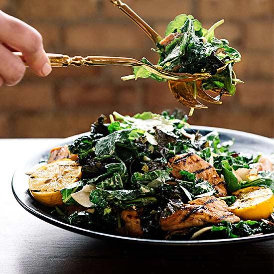 Kale Caesar Salad with Lemon-Rosemary Chicken