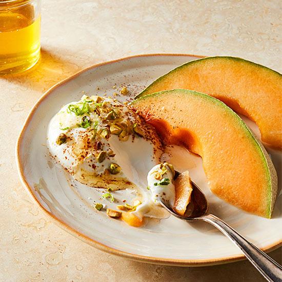 Chili-Lime-Pistachio Yogurt and Melon