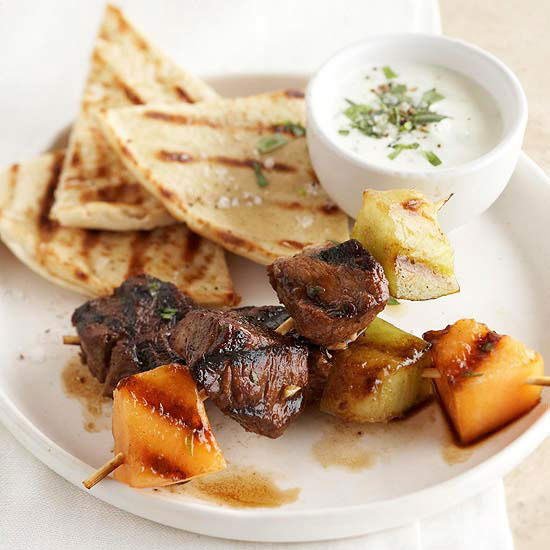 Honey-Lime Lamb and Melon Skewers