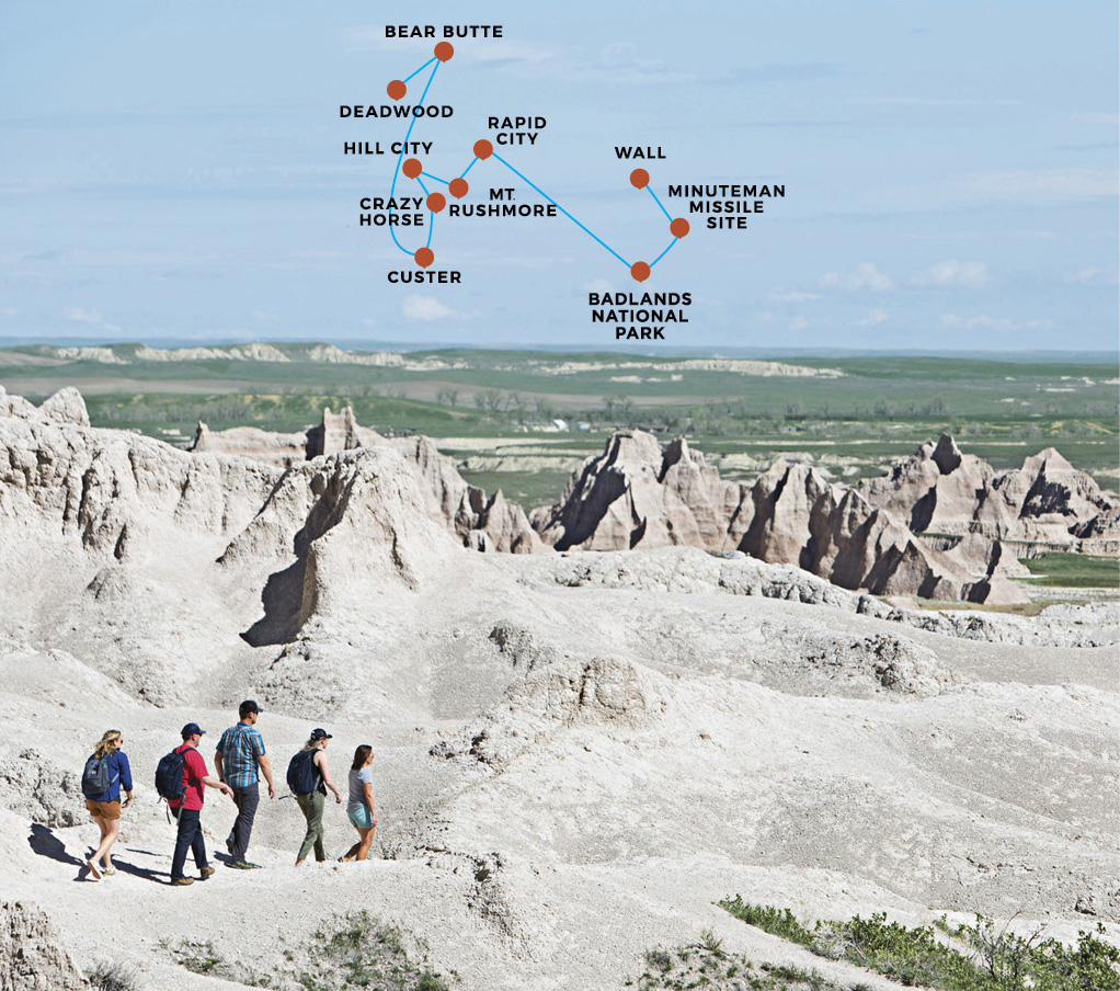 Badlands with map