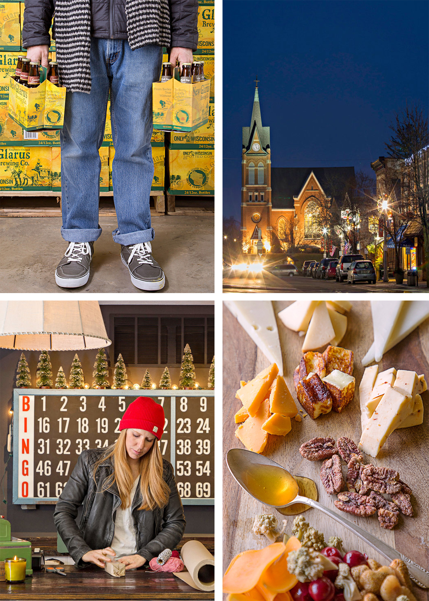 New Glarus has 2,100 residents, but New Glarus Brewing averages twice that in visitors weekly. The Swiss United Church of Christ erected this downtown landmark in 1900. Cow and Quince serves farm-to-table fare. Hutch and Hide sells hip gifts with a Midwest focus.