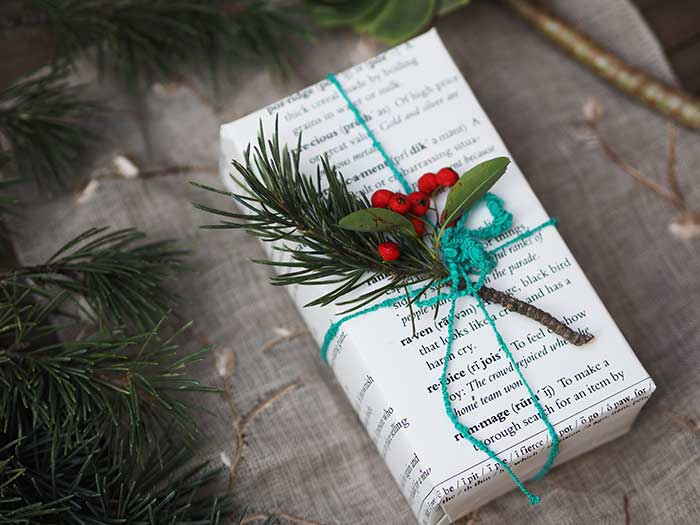 Recycled book gift wrap