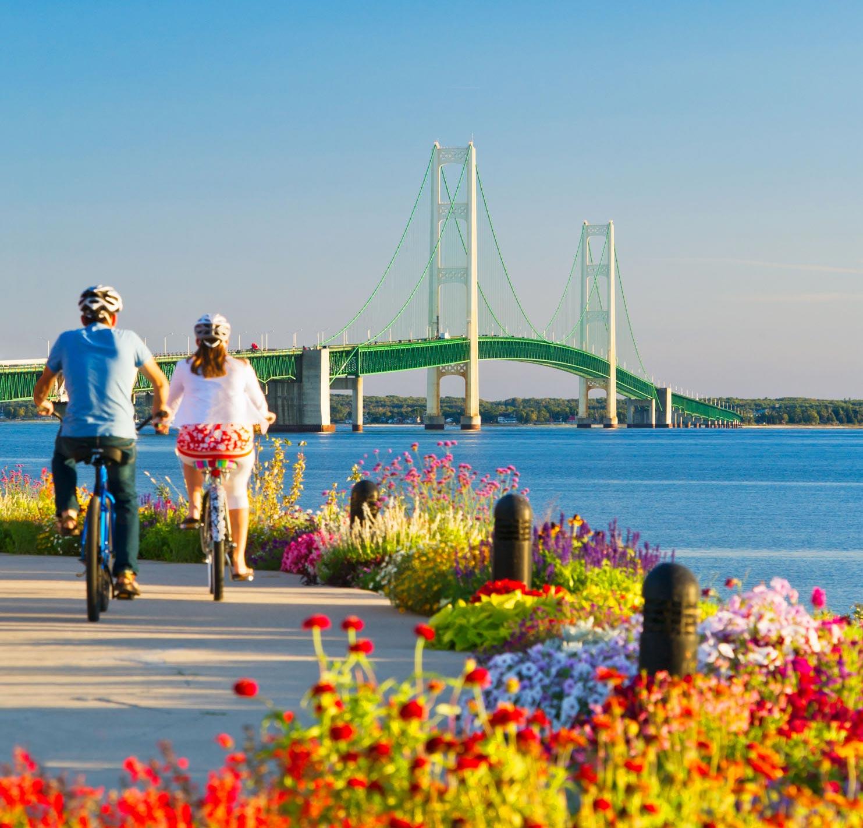 Biking Mackinaw City near the Mackinac Bridge