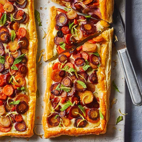 Carrot Tart with Goat Cheese, Lemon and Mint