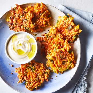 Carrot Fritters with Tahini-Lemon Yogurt